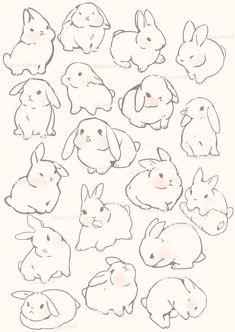 Cute Animal Drawings, Animal Sketches, Kawaii Drawings, Art Drawings Sketches, Easy Drawings, Cute Animals To Draw, Bunny Drawing, Bunny Art, Simple Cat Drawing