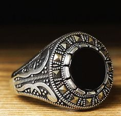 Turkish Ottoman 925 K STERLING SILVER MEN'S RING Onyx and Marcasite Stones sz 9 #Handmade #Statement