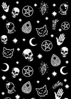 witch pattern occult pagan wicca wicce pentagram pentacle ouija planchette skulls black cats moon stars gothic