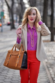 This is color-blocking perfection! Loving the purple shade on top of these cherry red pants. This blazer tames the look just enough for work. Love it all! #fashion