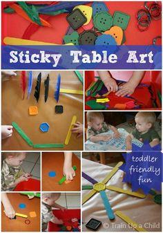 sticki tabl, art idea, tabl art, toddler fun, preschool idea, activ, toddlers, young toddler, open ended art for kids
