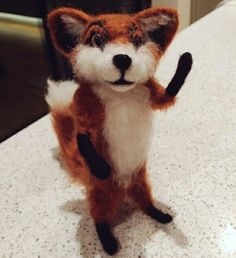 Needle felt Fox Felt crafts, sculpture, fox, wedding cake topper, woodland creatures, handmade