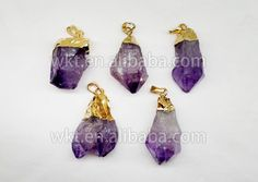 WT-P160 Golden Brass Irregular Amethyst Crystal Pendant for Necklace Making / Gemstone Charms Wholesale raw Amethyst stone by WKTjewelry on Etsy