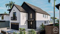 2 Story Modern Farmhouse Style Plan | Mission Bay Narrow Lot House Plans, Two Story House Plans, Best House Plans, Coastal House Plans, Floor Plan Drawing, Modern Farmhouse Style, Coastal Farmhouse, Bookshelves Built In, Build Your Dream Home