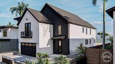 2 Story Modern Farmhouse Style Plan | Mission Bay Narrow Lot House Plans, Two Story House Plans, Best House Plans, Coastal House Plans, Modern Farmhouse Plans, Coastal Farmhouse, Bookshelves Built In, Floor Plans, House Design