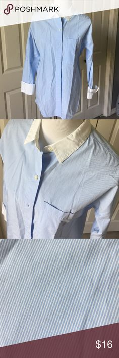 Blue and white pinstripe button down White Collar and cuffs. Boyfriend fit. 100% cotton Old Navy Tops Button Down Shirts
