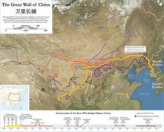 Great Wall(s) of China - detailed map with various routes and construction dates Genghis Khan, Tourist Center, China Map, China China, Archaeology News, Great Wall Of China, Asian History, Wall Maps, Fortification