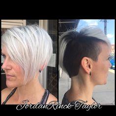Shaved undercut. Icy white hair. Women's bold cuts. Instagram @jordanrincktaylor