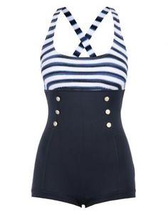 Seafolly Seaview Stripe Boyleg One Piece Navy Blue