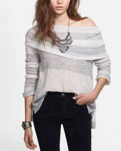 "Free People ""Lulu"" rugby stripe cowl neck sweater."