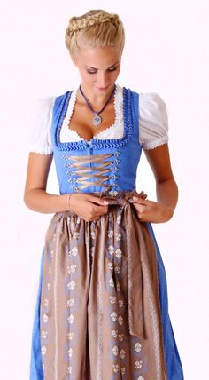 Blau braunes Midi Dirndl von Finja.
