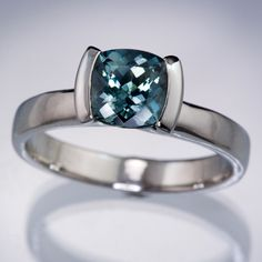 Cushion Teal Green/Blue Fair Trade Sapphire Modified Tension Engagement Ring