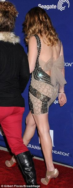 LeAnn Rimes shimmers in flesh-toned dress with a very sexy twist as she leads glamour at pre-Grammy event | Mail Online