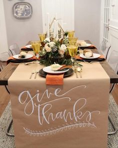 thanksgiving table setting inspiration with calligraphy and magnolia leaves // centerpiece calligraphy tablescape table decorations holiday table ... & A Thanksgiving Table with Turkey Plates Plaid and Pumpkin-Oak Leaf ...