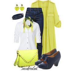 """Yellow Trench Coat"" by sassafrasgal on Polyvore"