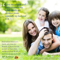 "Product Testimonials: ""I love the wounds and burns cream as my whole family are accident prone, especially my husband LOL"" Read about Rebecca's family who uses our Wounds & Burns Cream, as well as what other customers have to say at... http://mcarthurnaturalproducts.com/therapeutic-testimonials/page/2/ McArthur Natural Products' Wounds & Burns Cream contains 60% McArthur Pawpaw Extract™ plus the active ingredient Aloe Vera, traditionally used in herbal medicine in the healing of minor…"