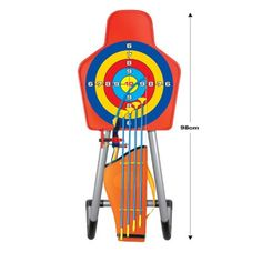 King Sport Archery Set With Target and Stand - Deluxe Archery set – complete with bow and arrow, quiver, target, and stand. Includes 4 Suction cup arrows. Perfectly SAFE for children. Ages 3 and Up.