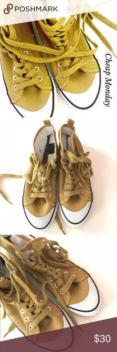 🎀CHEAP MONDAY HIGH TOP CLASSIC CANVAS SNEAKERS🎀 NWT, no box. Cheap Monday Classic High Top Canvas sneakers. Featuring front lace up and rubber sole. Color is more mustard yellow. Please, feel free to ask me any questions . Bundle and save. Cheap Monday Shoes Sneakers