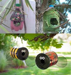 You can make a very nice bird houses from the plastic bottles and cans.