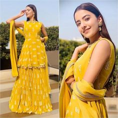 Yellow Sharara Suits to Make Your Haldi Ceremony Special - Fashion Indian Wedding Outfits, Bridal Outfits, Indian Outfits, Wedding Dress, Function Dresses, Mehendi Outfits, Indian Gowns Dresses, Shadi Dresses, Fancy Blouse Designs