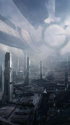 Cyberpunk City, Futuristic City, Futuristic Architecture, Fantasy City, Fantasy Places, Sf Wallpaper, Arte Sci Fi, Sci Fi City, Alien Worlds