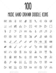 Buy 100 Music Hand Drawn Doodle Icons by creativestall on GraphicRiver. A set of 100 beautiful music hand drawn doodle icons! Kritzelei Tattoo, Icon Tattoo, Doodle Tattoo, Mini Drawings, Doodle Drawings, Easy Drawings, Doodle Art, Simple Doodles Drawings, Doodle Frames