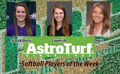 YHC's Stooksbury, Flagler's Loverich, GC's Lewis Named Softball AstroTurf Players of the Week