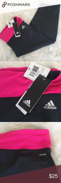 Adidas Climalite Workout Crop Pants Size XL Adidas Climalite Workout Crop Pants Dark charcoal with bright pink waistband  Size xl adidas Pants Ankle & Cropped