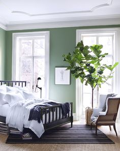 Wake up your bedroom with rich, fresh and modern Volute Green from Ralph Lauren Paint's Greenwich Village palette