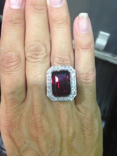 Garnet and Diamond Ring  *can also be worn as a pendant