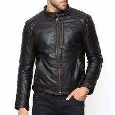 Bareskin men's black colour genuine leather biker jacket with diamond stitching on elbow and back of Leather Accessories, Leather Shoes, Black Leather, Biker Leather, Leather Jackets Online, Men Online, Stuff To Buy, Shopping, Fashion