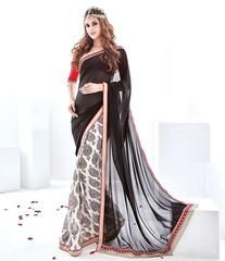 Cream Color Half Georgette & Half Wrinkle Chiffon Kitty Party Sarees : Vrushali Collection  YF-43083