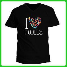 Idakoos - I love Trolls colorful hearts - Fantasy and Monsters - V-Neck T-Shirt - Fantasy sci fi shirts (*Amazon Partner-Link)