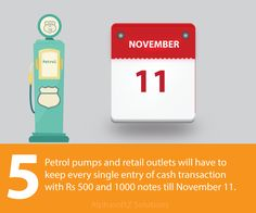 Petrol pumps and retail outlets will have to keep every single entry of cash transaction with Rs 500 and 1000 notes till November 11.
