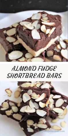 Buttery shortbread with a chocolate fudgy layer. Outstanding! #MyRecipeReviews #fudgeshortbread Toasted Almonds, Sliced Almonds, My Recipes, Cake Recipes, Condensed Milk Cookies, Shortbread Bars, Cookie Flavors, No Bake Bars, Wonderful Recipe