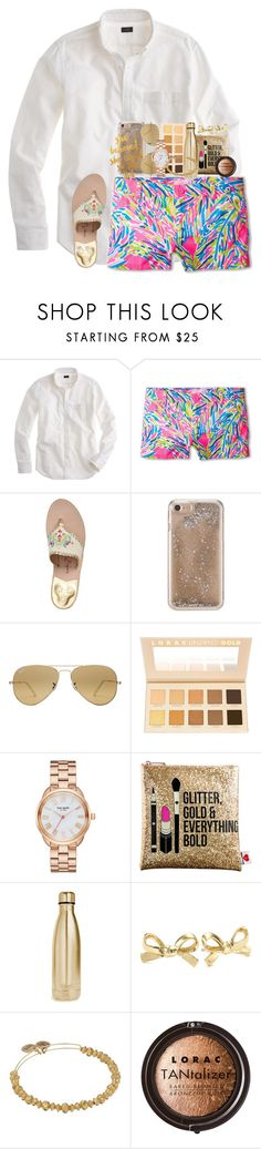 """QOTD"" by karinaceleste ❤ liked on Polyvore featuring J.Crew, Lilly Pulitzer, Jack Rogers, Agent 18, Ray-Ban, LORAC, Kate Spade, Sephora Collection, S'well and Alex and Ani"