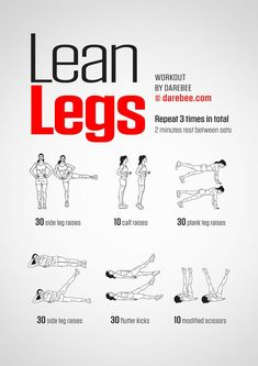 Exercise Lean Legs Workout Demolition - Where Do You Start? Leg Workout At Home, Leg Day Workouts, Gym Workout Tips, Easy Workouts, Workout Challenge, At Home Workouts, Thin Legs Workout, Beginner Leg Workout, Toned Legs Workout