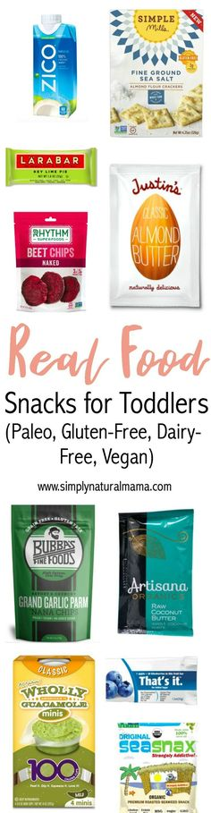 This is a fantastic collection of real food snacks for toddlers. Plus, they are all gluten-free, dairy-free, and Paleo. So no matter what diet your kids follow, there is something for you! via @simplynaturalma