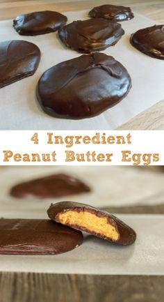 4 Ingredient Peanut Butter Eggs - Homemade peanut butter eggs for Easter