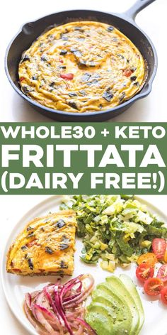 Keto Frittata Recipe Video - a dairy free low carb frittata using whatever vegetables you have on hand! The filling possibilities are endless! Dairy Free Keto Recipes, Dairy Free Low Carb, Sugar Free Recipes, Healthy Recipes, Gluten Free, Healthy Meals, Whole 30 Breakfast, Free Breakfast, Breakfast Recipes