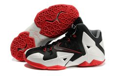 "King LeBron 11 ""Miami Heat"" Black-White-Red James Nike Sneakers"