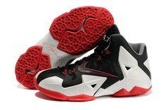 """King LeBron 11 """"Miami Heat"""" Black-White-Red James Nike Sneakers"""