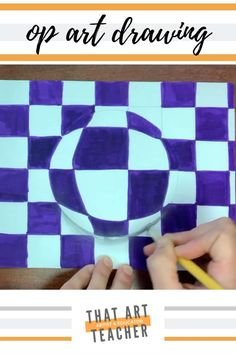 Learn this easy optical art 3-D drawing in this guided tutorial. Perfect for the classroom, distance learning or artists at home. Optical Illusions Drawings, Illusion Drawings, Art Optical, Optical Illusion Art, Optical Illusions For Kids, 3d Art Drawing, Art Drawings For Kids, Easy Op Art, Op Art Lessons