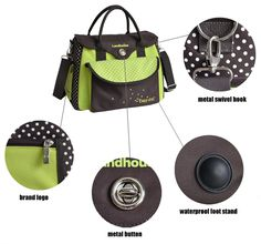 Multifunctional Dot Print Waterproof Inside Baby Diaper Bag Mummy Handbag with Storage Bag