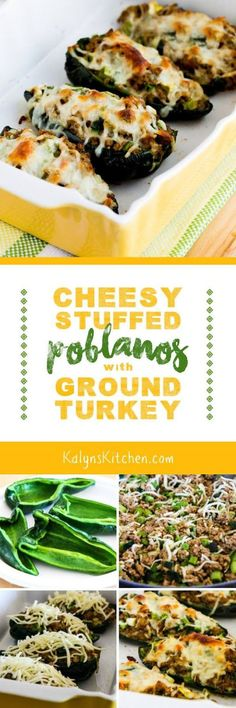 I love the spicy ground turkey filling in these Cheesy Stuffed Poblanos with Ground Turkey, and this tasty recipe is low-carb, gluten-free, and South Beach Diet friendly! [found on KalynsKitchen Healthy Recipes, Mexican Food Recipes, Low Carb Recipes, Diet Recipes, Cooking Recipes, Healthy Foods, Stuffed Poblanos, Stuffed Peppers, Clean Eating