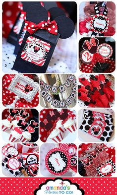 Minnie Mouse Party Red - On SALe -Birthday Party Inspired by Minnie Mouse - HUGE Printable Set by Amanda's Parties TO GO on Etsy, $25.00