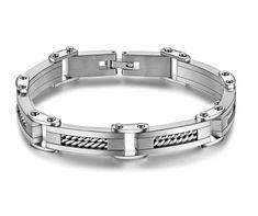 SPORTIR - pánsky oceľový náramok - športový dizajn, dĺžka: 22cm, šírka: 9mm Silver Drop Earrings, Sterling Silver Necklaces, Women's Earrings, Link Bracelets, Bracelets For Men, Bangle Bracelets, Stainless Steel Cable, Stainless Steel Bracelet, Amber Necklace
