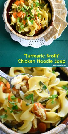 Chicken Noodle Soup In Turmeric Broth. Delicious with classic flavors and tons of immune boosting health benefits!! NaiveCookCooks.com