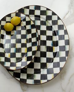 Courtly Check Pedestal & Oval Platters by MacKenzie-Childs at Horchow.