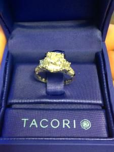 Tacori platinum engagement ring with total ct----center radiant diamond is ct Radiant Engagement Rings, Tacori Engagement Rings, Platinum Engagement Rings, Wedding Matches, Wedding Bands, Dream Wedding, Future, Diamond, Nails